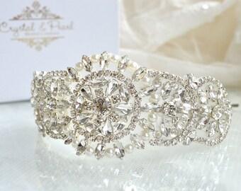 Candice Side Hairband - Crystal Vintage Wedding Bride Headband Hair Side Tiara Hairband Great Gatsby Art Deco Rhinestone Pearls Bridesmaid