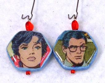 Recycled Comic Book Superhero Earrings Dangle Beaded Pierced Lois Lane and Clark Kent OOAK Jewelry Birthday Geek Gifts for Her