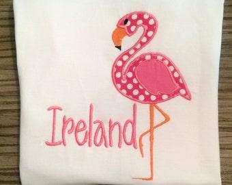 Monogrammed Girls' Flamingo Applique Shirt