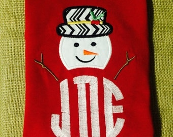 Snowman Initial Holiday Shirt