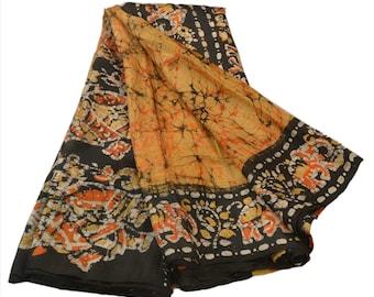 KK Silk Blend Batik Saree Printed Sari Black Ethnic Craft Fabric