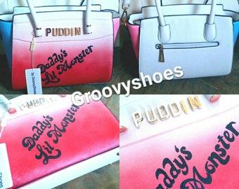 Puddin gold letter. White bag. Harley quinn bag. Daddy's lil monster. Handpainted bag. Unique bag.