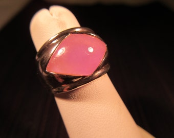 Modernist Sterling Silver Purple Gemstone Ring - 5