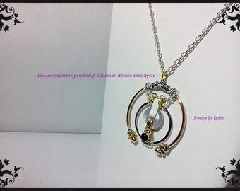 Jewelry designer pendant. Talisman Amethyst goddess