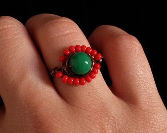 Unique Ring - Copper Wire Ring - Beaded Ring - Green Ring -  Red Ring - Wire Wrapped Ring - UK SIZE M - Unusual Jewelry