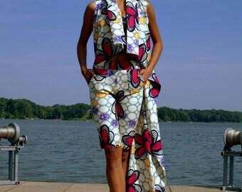 Ankara Shorts Set | Ankara Print SHADíA JACKET DRESS with Shorts | Twin Set