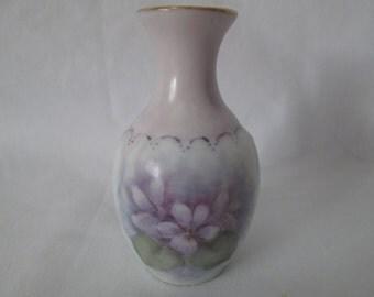 Vintage Hand painted war-time miniature vase Violias Violets lavender and purple gold trim bud vase