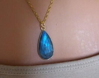 Labradorite Necklace/Labradorite Pendant/Teardrop Labradorite Necklace/Genuine Labradorite/Blue Flash Labradorite Necklace/Layering/LB070