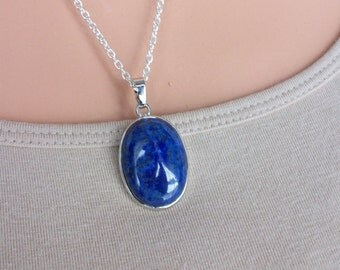Lapis Lazuli Pendant Silver Chain Oval Lapis Lazuli Necklace Genuine Lapis Lazuli Necklace Different Lapis Lazuli Gemstone Necklace N0745