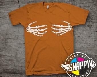 Skeleton Hand Bra Graphic Tee, Burnt Orange T-Shirt, Halloween Tee, Party Shirt
