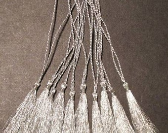 SILVER BOOKMARK TASSELS In Glittering Metallic Thread