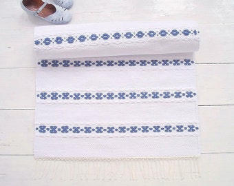 White blue runner rug, scandinavian style rug, cotton rug, handmade, washable, woven on the loom, made to order