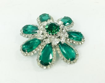 50s Vendome Emerald Green Flower Rhinestone Brooch