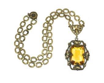 1930s  Amber Glass Pendant Necklace