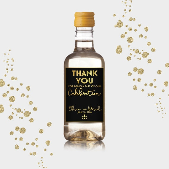 Thank You Party Favor Mini Wine Bottle Labels Customized