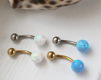 Opal Belly Button Ring.Synthetic Opal.