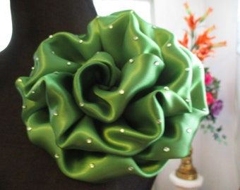 Olive Green Satin Flower Corsage, Mother of the Bride, Corsage
