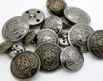 6Pcs Retro British style metal buttons British style Coat buttons Fashion Buttons,13-25mm(0.51-0.98inch),P137