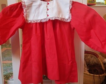 vintage baby girls red dress size 18 months