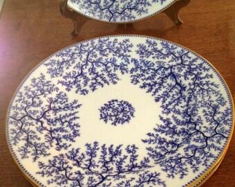 Vintage 1878 Mintons Fibre/Seaweed plates G2702 in Blue