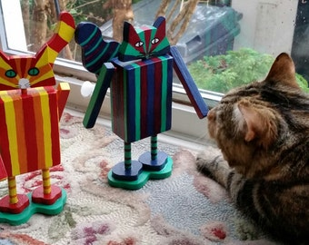 WoodenCat #CatBots blue green and magenta stripes 8 inches high handmade decorated by Peter Brighouse, your choice of cat art