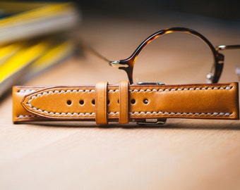 custom made leather watch strap, making video, vegetable leather watch strap 18mm ~22mm