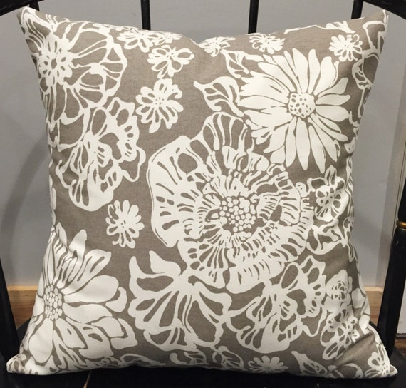 Modern Floral Pillows : Pillow cover taupe cream modern floral print by EclecticGypsyCo
