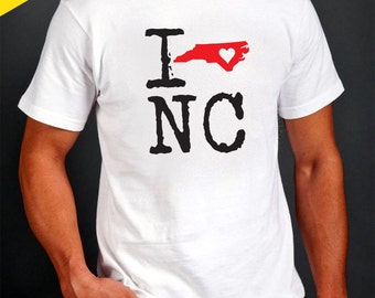 I Heart NC T-Shirt - State Shape with Heart - North Carolina