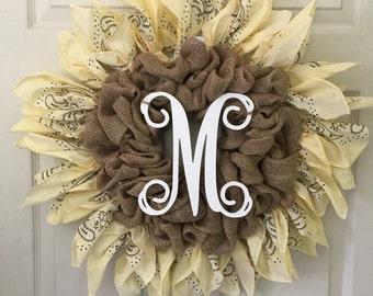 Burlap sunflower wreath bandanna burlap wreath bandanna wreath monogram wreath custom wreath