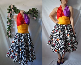Vintage 80s Formal Dress 80s Quirky Dress 80s Halter Dress New Wave Dress Polka Dot Dress Whimsical Dress Cache Dress 80s Prom Dress
