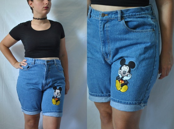 vintage 80er jahre disney jean shorts hoch von. Black Bedroom Furniture Sets. Home Design Ideas
