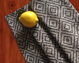 Diamond Weave Table Runner, Table Linens, Black & White Runners, Ethnic Style Home Decor, Spring Home  Decor