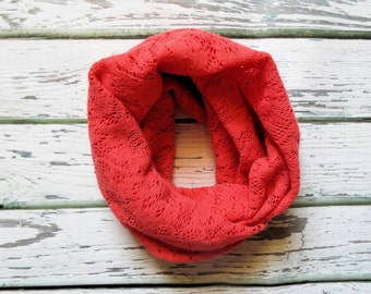 Coral Lace Scarf, Infinity Scarf, Toddler, Girls