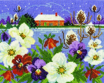 DMC BK1679 Winter Garden Cross Stitch Kit from the Seasonal Landscapes Collection designed by Lesley Teare