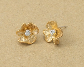 Cubic Flower Earrings, 925 Silver Post, Jewelry Craft Supplies, Polished Gold Plated over Brass - 2 Pieces-[BE0041]-PG