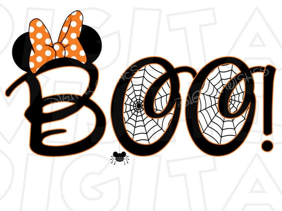 Minnie Mouse Spider Web Boo Halloween head ears Digital Iron