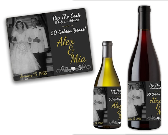 50th Anniversary Wine Labels 50th Anniversary Party Favors