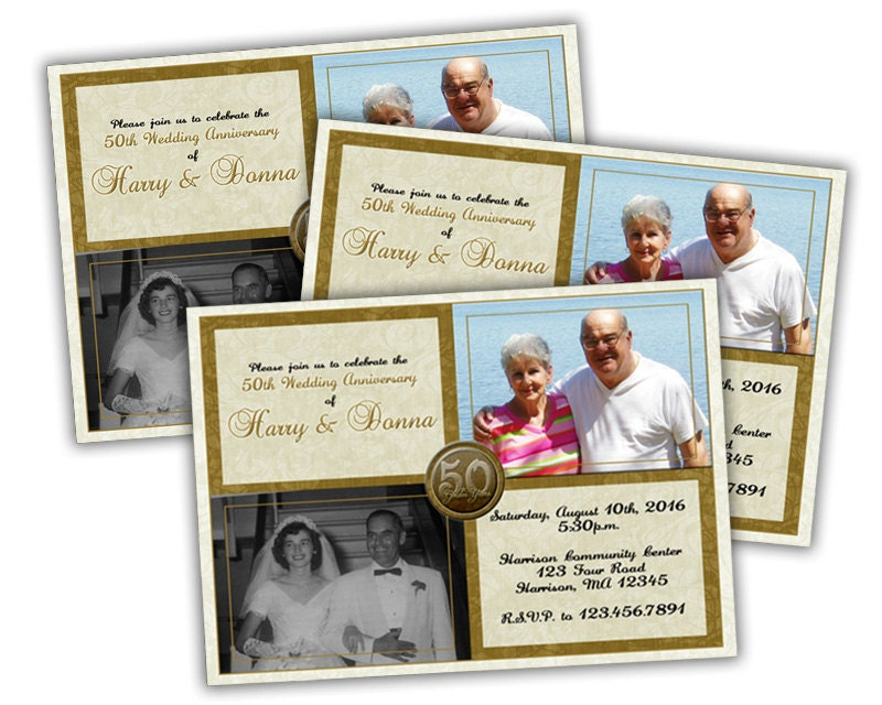 50th Wedding Vow Renewal Invitations: Printable Photo 50th Wedding Anniversary Invitation Then And