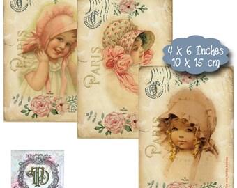 8 Vintage Child Postcard Tags