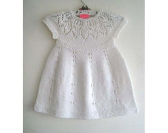 Poppy Dress - Knitting Pattern - Baby girl to age 6  - Instant Download PDF