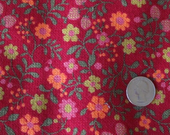 Peppy 1970s floral linen-weave cotton, bright cheerful colors!  Groovy hippie boho 1.5 yards