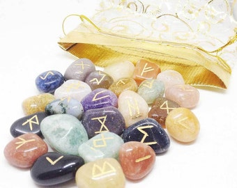 MIX STONE Runes Set for reiki healing, complete with pouch wicca pagan spirituality rune stones tumbled stones