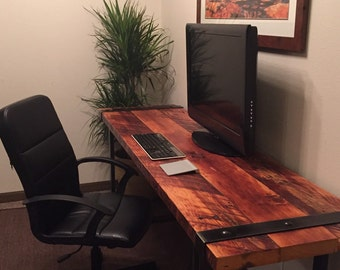 Industrial Desk. Reclaimed Wood Desk. Rugged Desk. Wood And Steel Desk. Iron