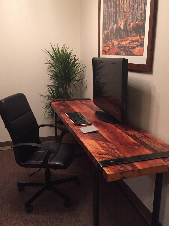 industrial desk reclaimed wood desk rugged desk wood and. Black Bedroom Furniture Sets. Home Design Ideas