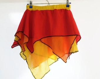 Fire Pixie, Gauze Skirt, Asymmetrical, Red, Orange and Yellow Fairy Fae Festival, Size Medium