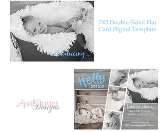 Film Strip Baby Boy Birth Announcement Template-7x5 flat, double-sided card