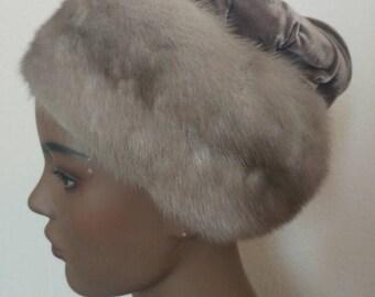 Vintage fur pill box hat mink velvet