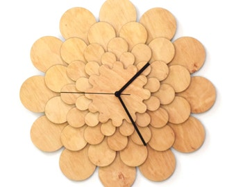 Flower L - unique stylish wooden wall clock, wall art