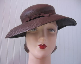 1930's Feather Bandeau Wide Brim Brown Straw Slouch Hat