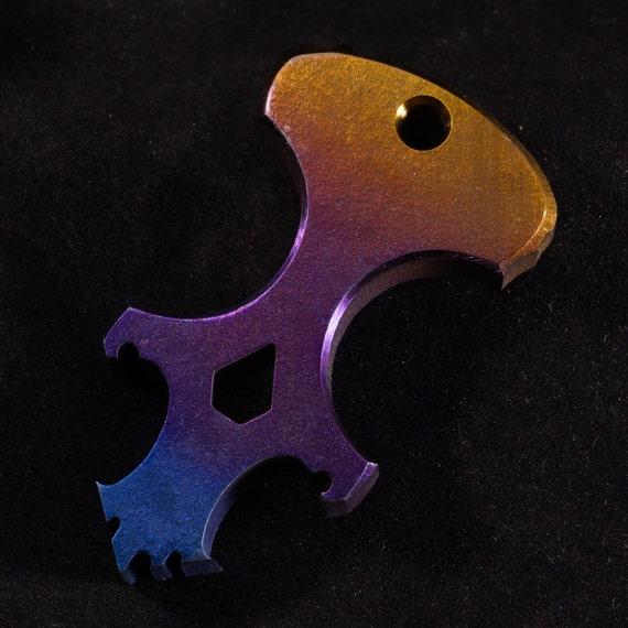 Anodized 'The Lion' Titanium Skully Dagger/Bottle Opener